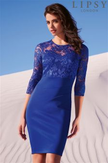 Lipsy Long Sleeve Lace Top Dress