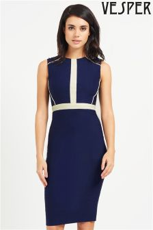 Vesper Electra Contrast Band Pencil Dress