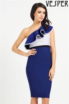 Vesper Colour Block Ruffle Midi Dress