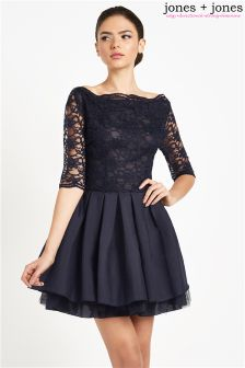Jones + Jones Lace Top Skater Dress