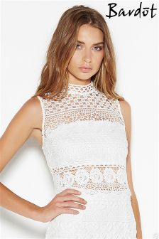Bardot High Neck Lace Top