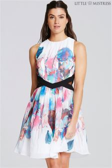 Little Mistress Print Cutout Prom Dress