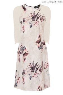 Little Mistress Floral Print And Lace Sleeve Dress