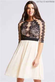 Little Mistress Lace Trim Prom Dress