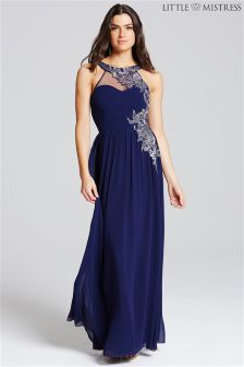 Little Mistress Embroidery Applique Maxi Dress