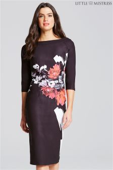 Little Mistress Rose Print Bodycon Dress