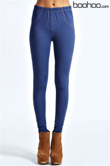 Boohoo Mid Wash Pocket Back Denim Look Jeggings