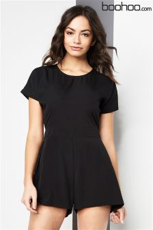 Boohoo Capped Sleeve Woven Playsuit