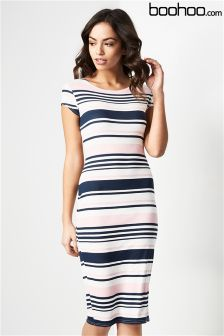 Boohoo Stripe Midi Bodycon Dress