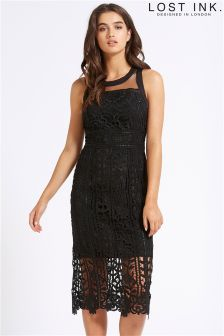 Lost Ink Crochet Lace Bodycon Dress