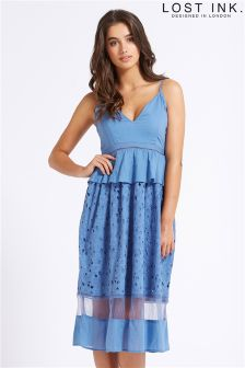 Lost Ink Broderie Insert Midi Dress