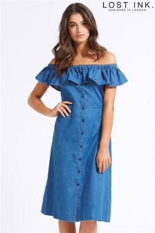 Lost Ink Denim Ruffle Bardot Dress