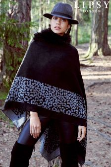 Lipsy Reversible Faux Fur Collar Cape