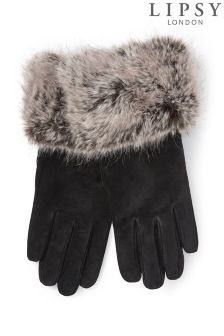 Lipsy Fur Cuff Suede Gloves
