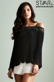 Stars By Julien Macdonald Pleated Off The Shoulder Top