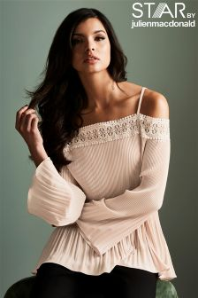Star By Julien Macdonald Pleated Off The Shoulder Top