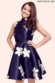 Sistaglam Floral High Neck Prom Dress