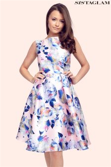 Sistaglam Floral Round Neck Prom Dress
