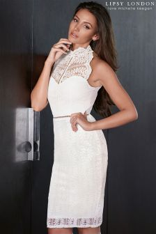 Lipsy Love Michelle Keegan High Neck Lace Dress