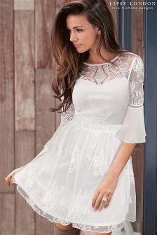 Lipsy Love Michelle Keegan Sweetheart Lace Skater Dress