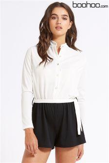 Boohoo Ribbed Shirt Style Playsuit