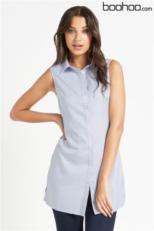 Boohoo Wrap Front Shirt Dress