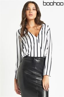 Boohoo Stripe Woven Wrap Front Blouse
