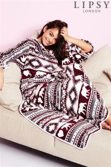 Lipsy Fairisle Print Blanket With Sleeves