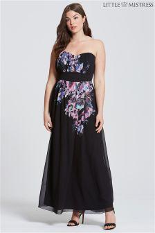 Little Mistress Curve Print Bandeau Maxi Dress