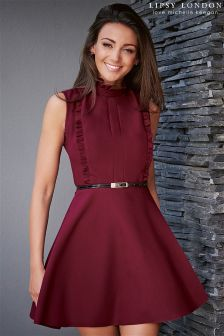 Lipsy Love Michelle Keegan High Neck Ruffle Skater Dress