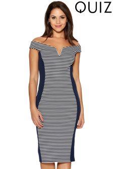 Quiz Stripe Panel Bardot Midi Dress