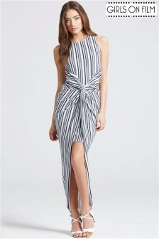 Girls On Film Stripe Knot Front Bodycon Dress