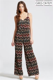 Girls On Film Zig Zag Print Jumpsuit