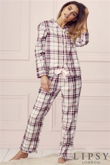 Lipsy Check Long PJ Set