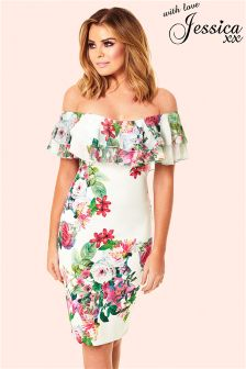 Jessica Wright Off The Shoulder Floral Frill Bodycon Dress