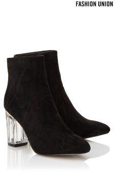 Fashion Union Contrast Perspex Heel Boots