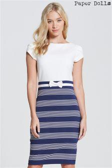 Paper Dolls Stripe Skirt Bow Waist Dress