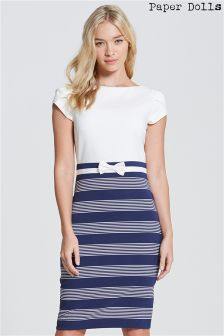 Paper Dolls Stripe Skirt Bow Waist Dress
