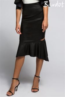 Bardot Peplum Pu Party Skirt