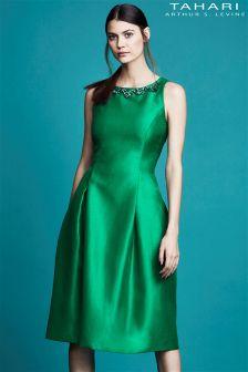 Tahari Midi Dress With Embellished Neckline