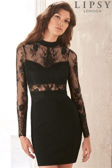 Lipsy Sheer Waist Lace Top Bodycon Dress