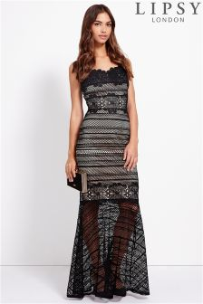 Lipsy All Over Lace Maxi With Trim Detail Dress
