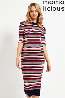 Mamalicious Maternity Stripe Knit Dress