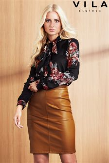 Vila Leather A Line Skirt