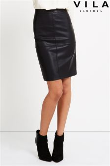 Vila Leather Pencil Mini Skirt