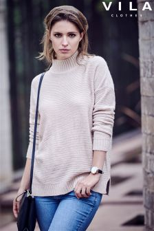 Vila Turtle Neck Rib Jumper
