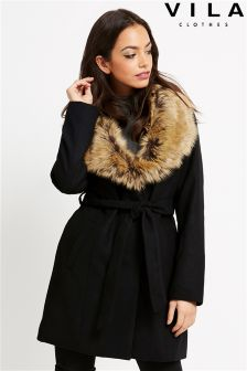 Vila Fur Collar Coat