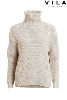 Vila Roll Neck With Cable Detail Jumper