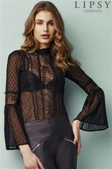 Lipsy Long Sleeve Lace Blouse