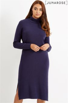 Junarose Funnel Neck Midi Knit Dress